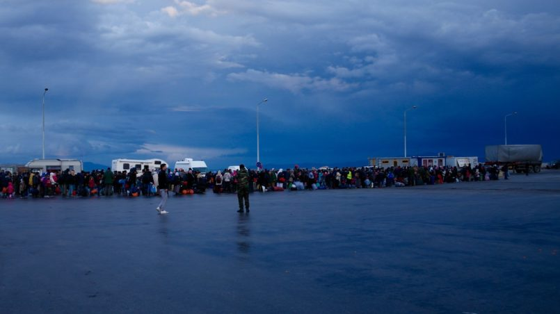 Port of Lesbos, row of refugees
