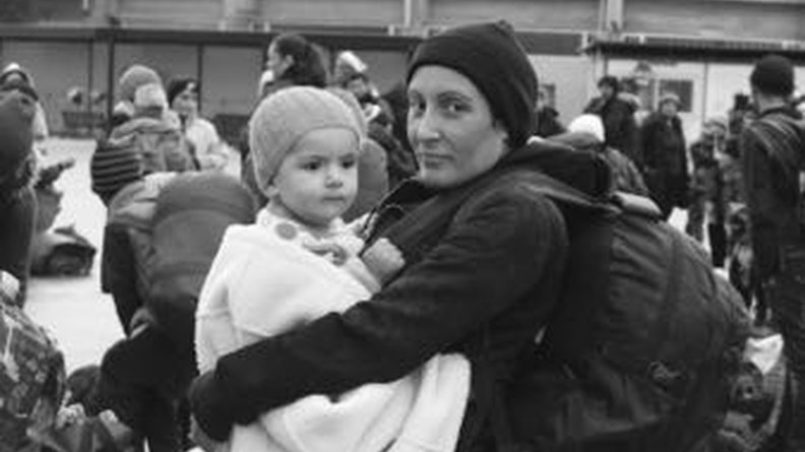 Port of Lesbos, mother with her child