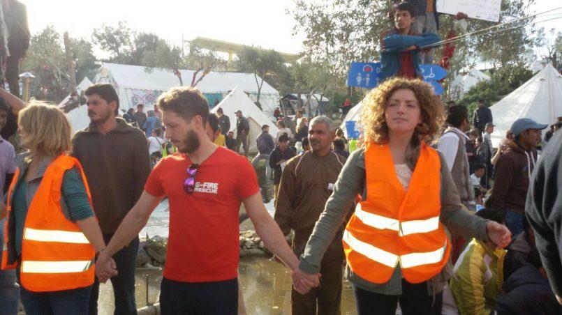 Volunteers showing solidarity
