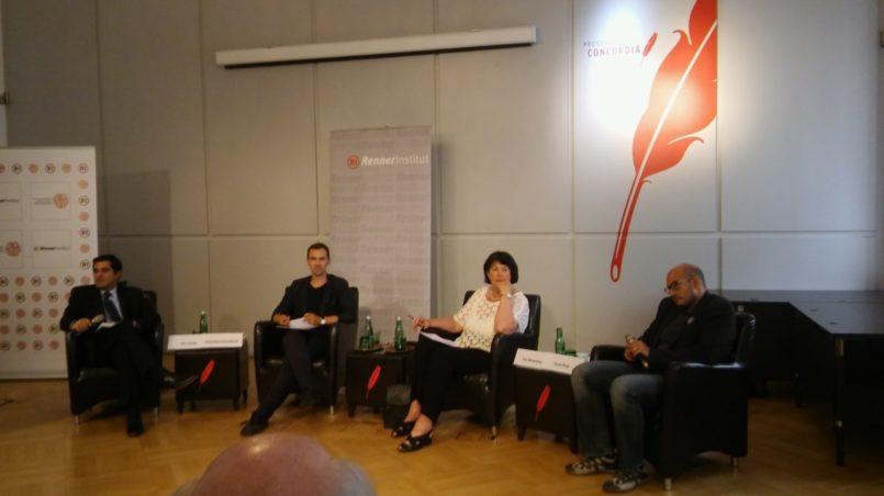 v.l.n.r: Ken Gude, S. Schublach, Eva Nowotny, Yussi Pick