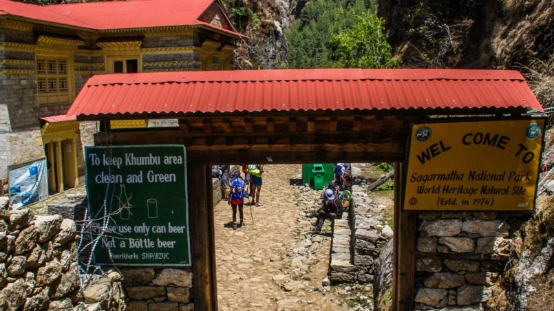 Entrance of Sagarmatha National Park. The rules to respect are the following: obtain from killing, anger, jealousy, offending other, taking excessive intoxication