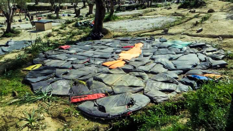 BDFM camp clean-up (mattresses made out of life jackets)