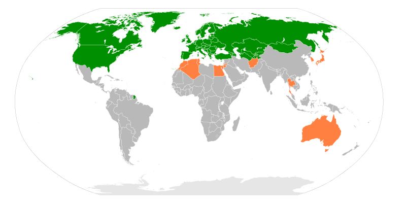 OSCE members (green) and partners (orange)