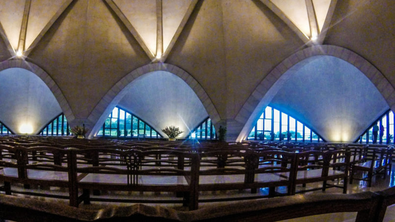 The inside of Lotus Temple
