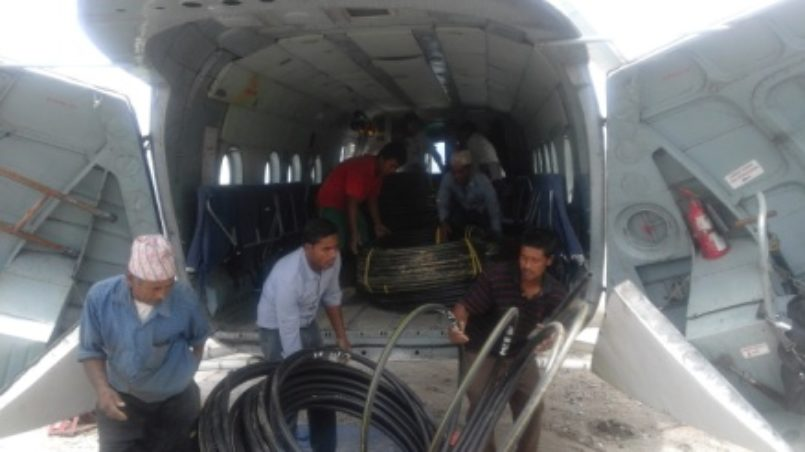 On loading the WASH relief materials in Helicopters