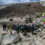 Indian army at memorial to fallen climbers and sherpas