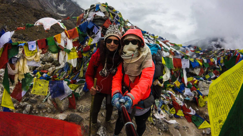 Praying flags at memorial to fallen climbers and Sherpas
