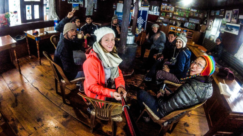Enjoying the evening together at Dingboche guesthouse