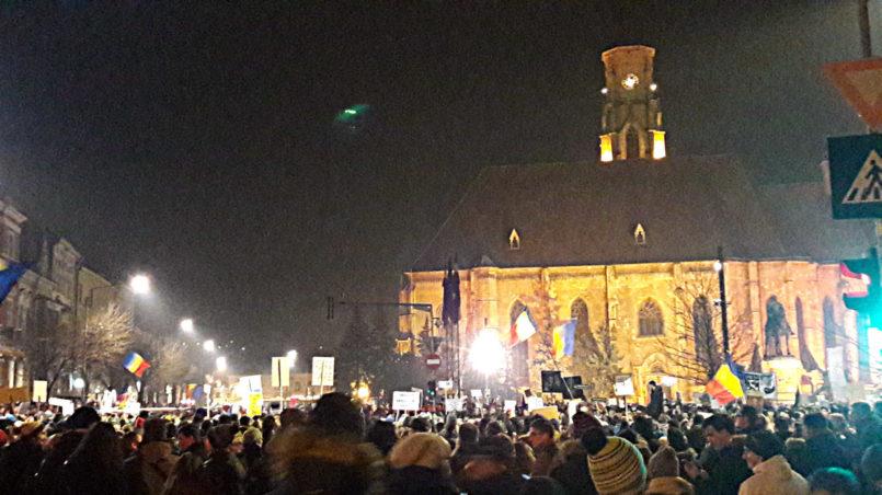 Protest night in Cluj-Napoca, February 2017