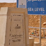 Signboard indicating Dead Sea