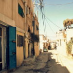 empty steets in the refugee camp