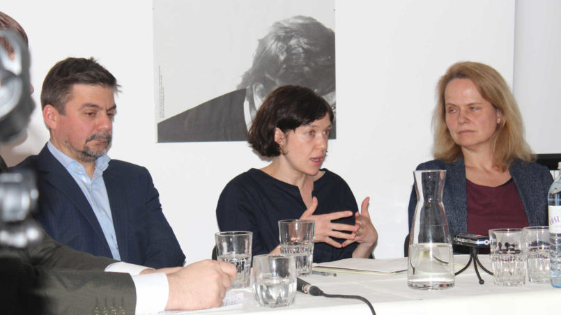 v.l.n.r. Roman Koval, Yevgenia Belorusets und Gudrun Gusel