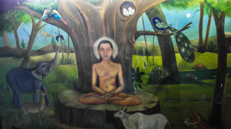 Jain meditating in nature, surrounded by animals
