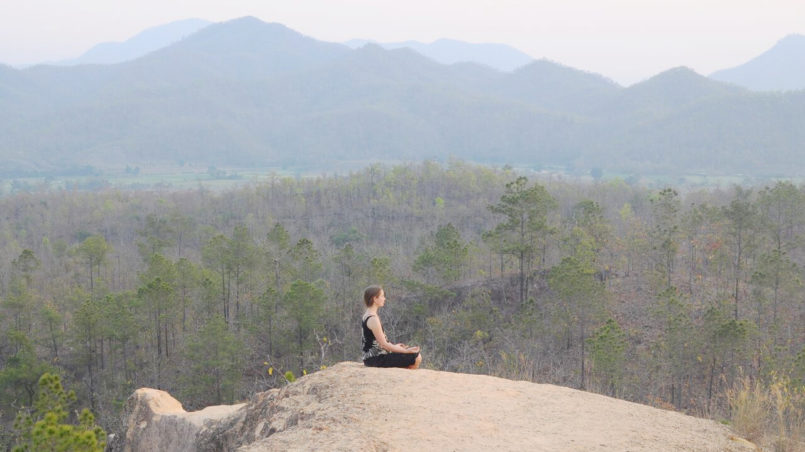 Meditating on a mountain in Thailand