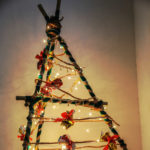 versus Christmas in the desert. Tree made out of bamboo sticks.