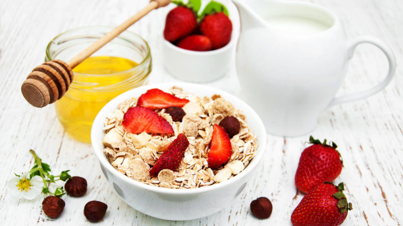 Muesli with strawberries-