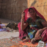 Women selling jewellery at local market, Jasailmer-